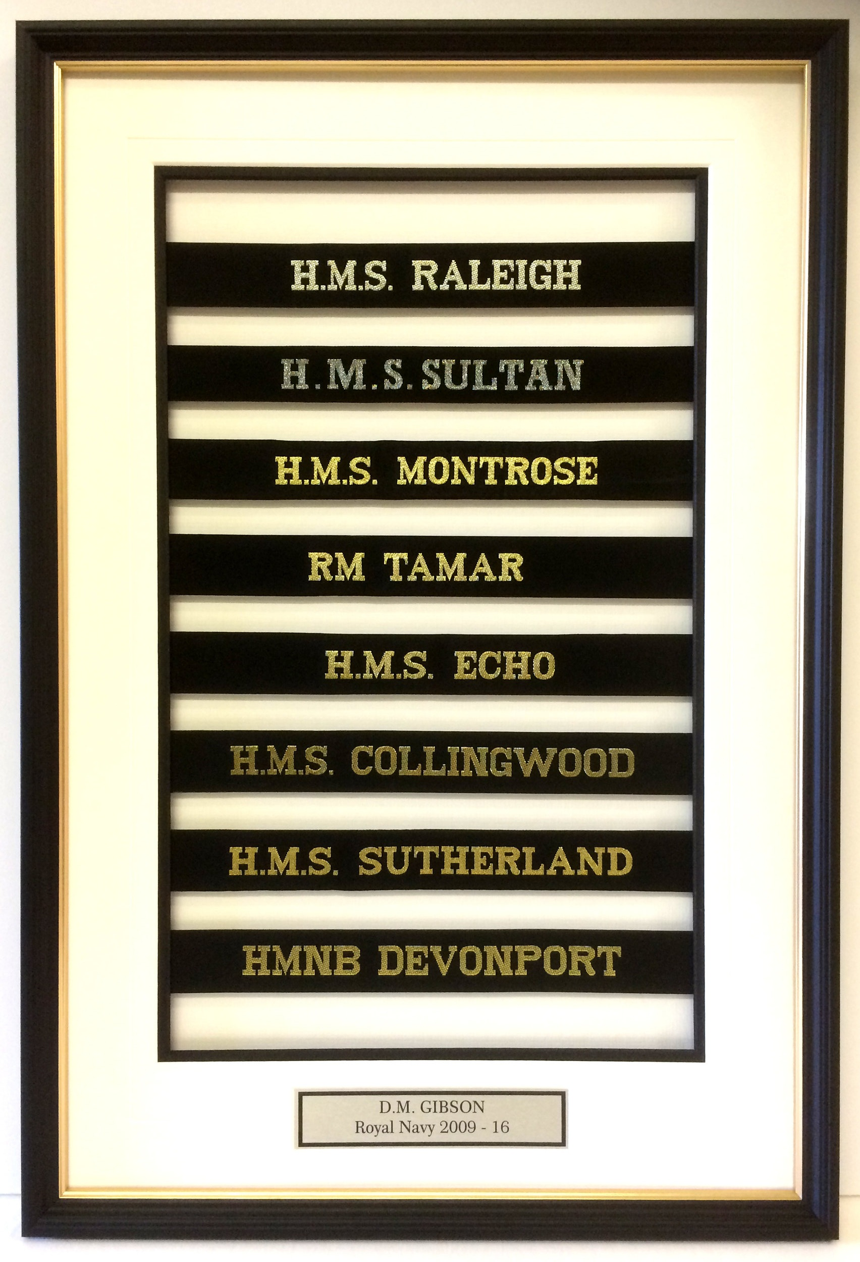 Royal Navy cap tallies held into place and aligned perfectly