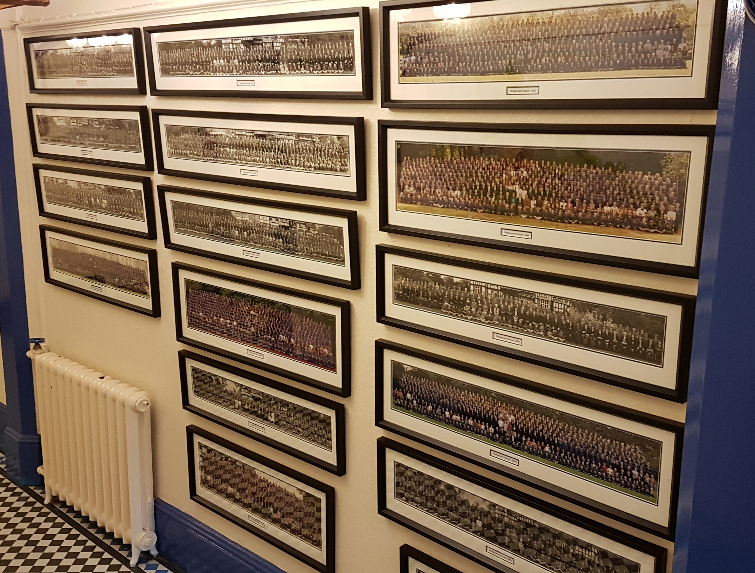 For a local school a complete historical record of all their panoramic format photos many of which were in bad condition and all poorly framed. Now restored, they are proudly displayed identically.