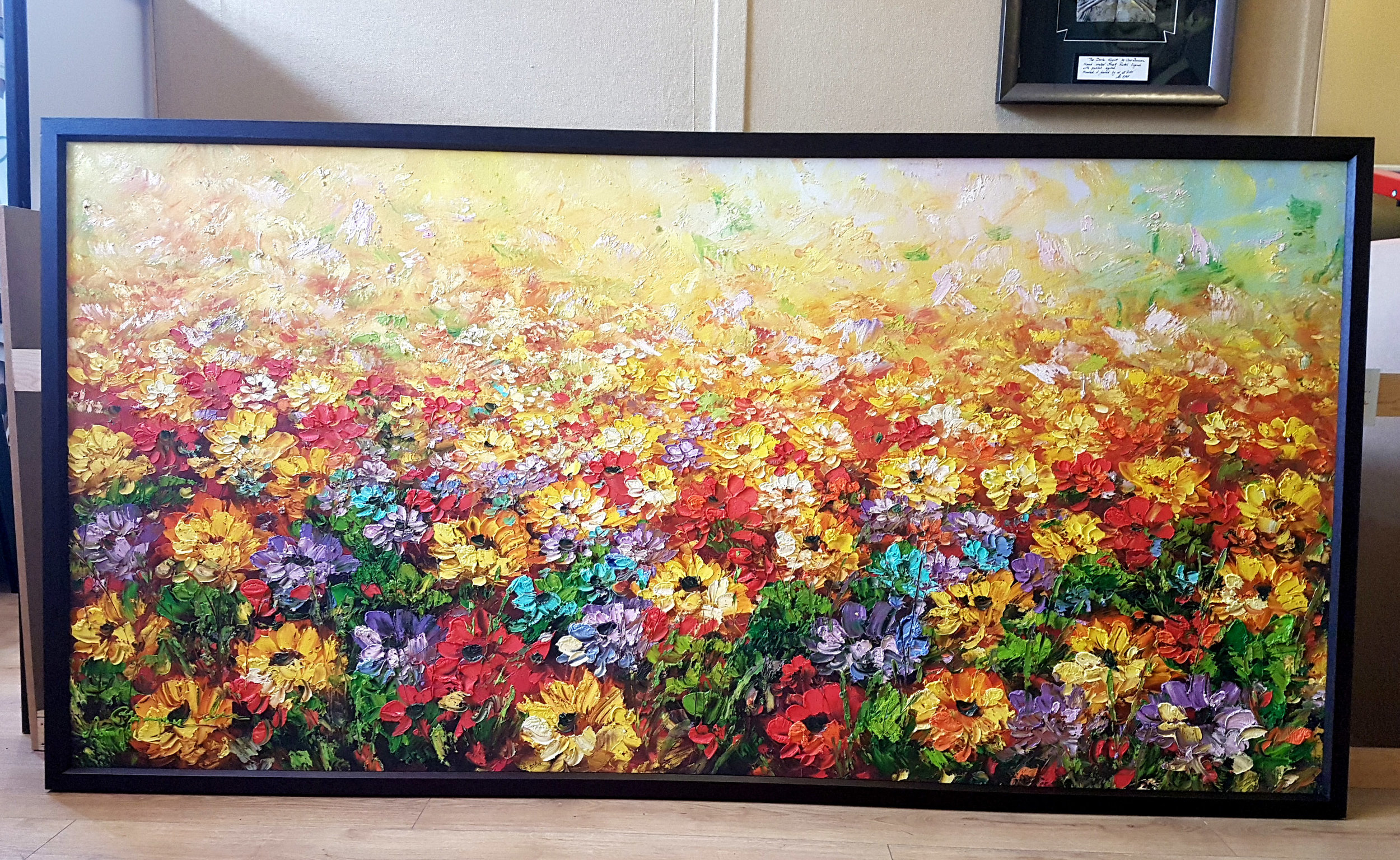A very big oil painting brought to us from a customer who purchased it from Vietnam. Oils like this need cross bracing once stretched and a substantial deep frame that won't sag or bend