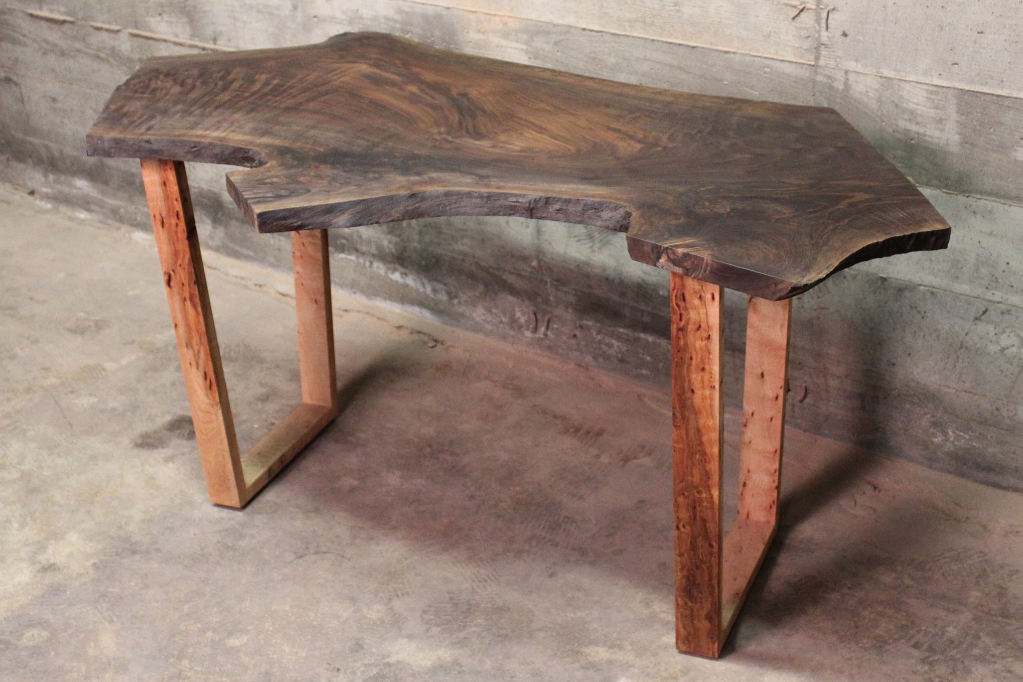 Tall Walnut Table - A tall reclaimed Walnut table with a modern Maple base. Measurements are 53