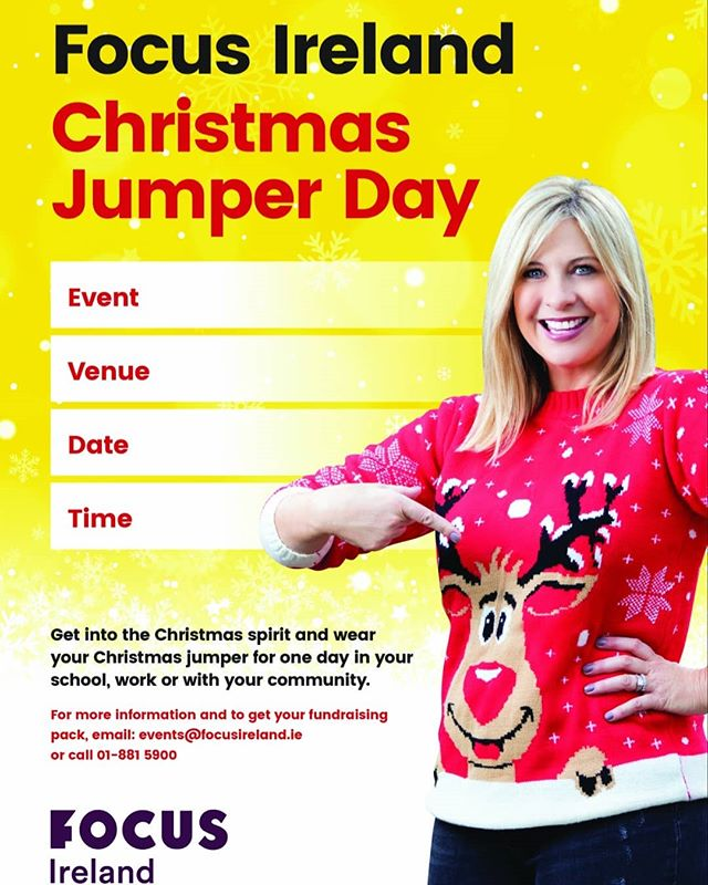 Get into the Christmas spirit of fun & festivities while raising much needed funds for Focus Ireland.  On December 12th we are encouraging all our clients new and old to call in to us and to wear a festive Jumper and contribute a small amount to Focus Ireland. Every eight hours a family is made homeless. Together we can change this.  https://www.facebook.com/donate/509240236246600/?fundraiser_source=external_url