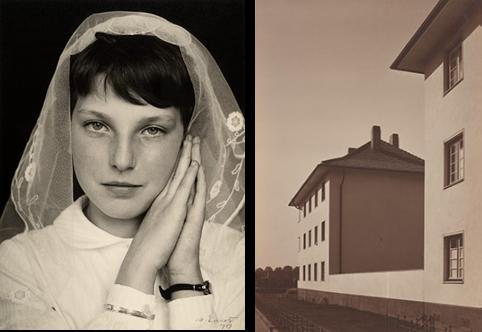 Vlnr: Communieportret van een meisje, Limburg (1959) © Werner Mantz / Nederlands Fotomuseum. Appartement aan de Ruhrorterstrasse, Keulen (ca. 1929) © Werner Mantz / Museum Ludwig