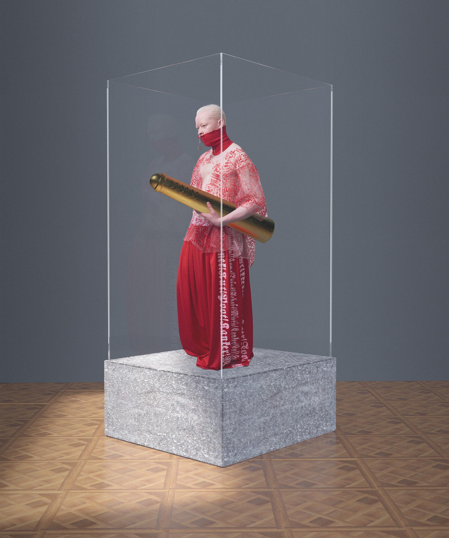 Albino in vitrine, in samenwerking met Willem Stapel