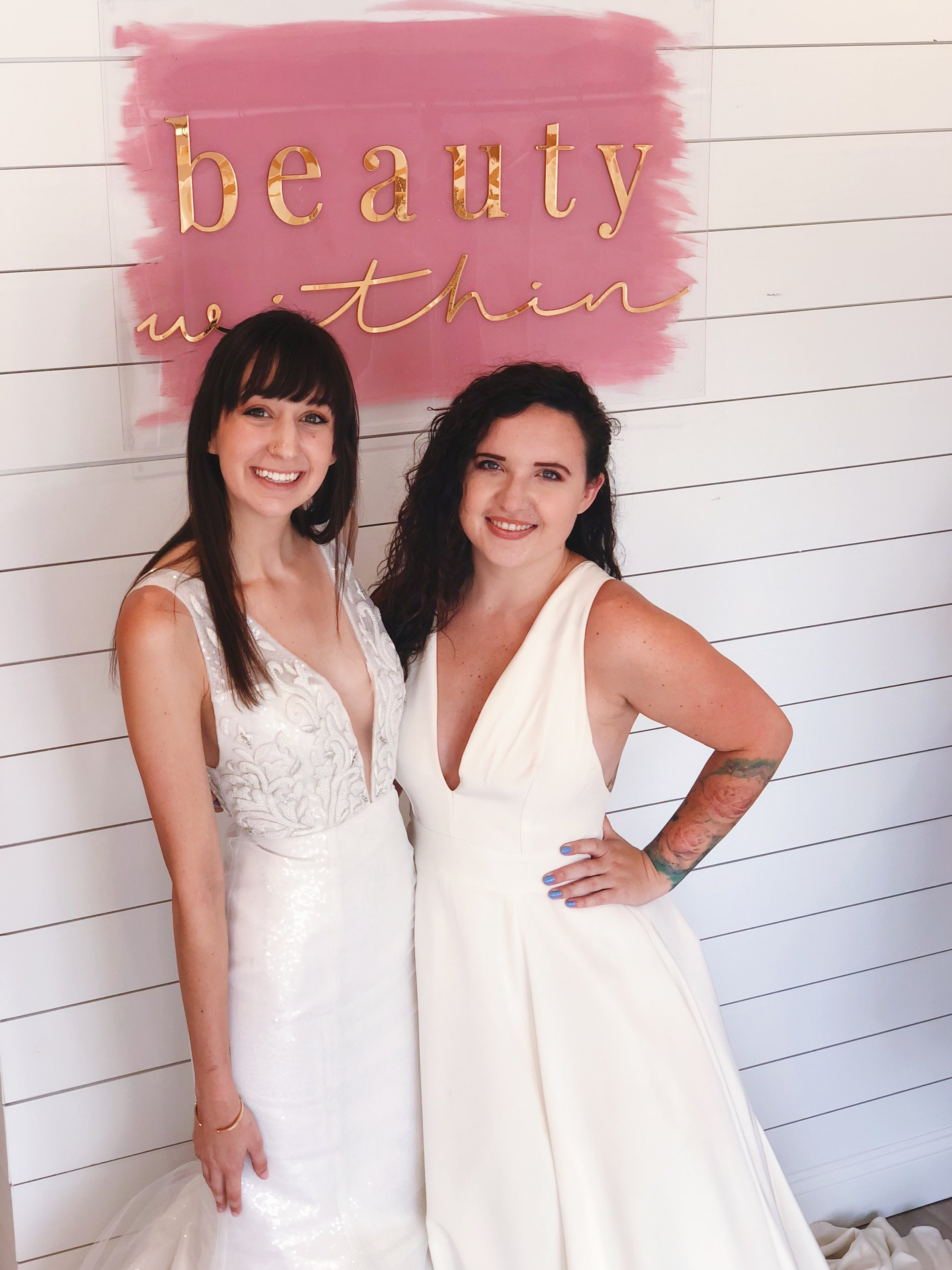 P.S. here is consultants, Chris and Destiny, playing a bit of dress up in these stunning Edith Elan gowns. These two girls, along with Lourdes, had a great time assisting brides in finding their perfect wedding dresses during the trunk show.    Until next time, XOXO - The Beauty Within Team