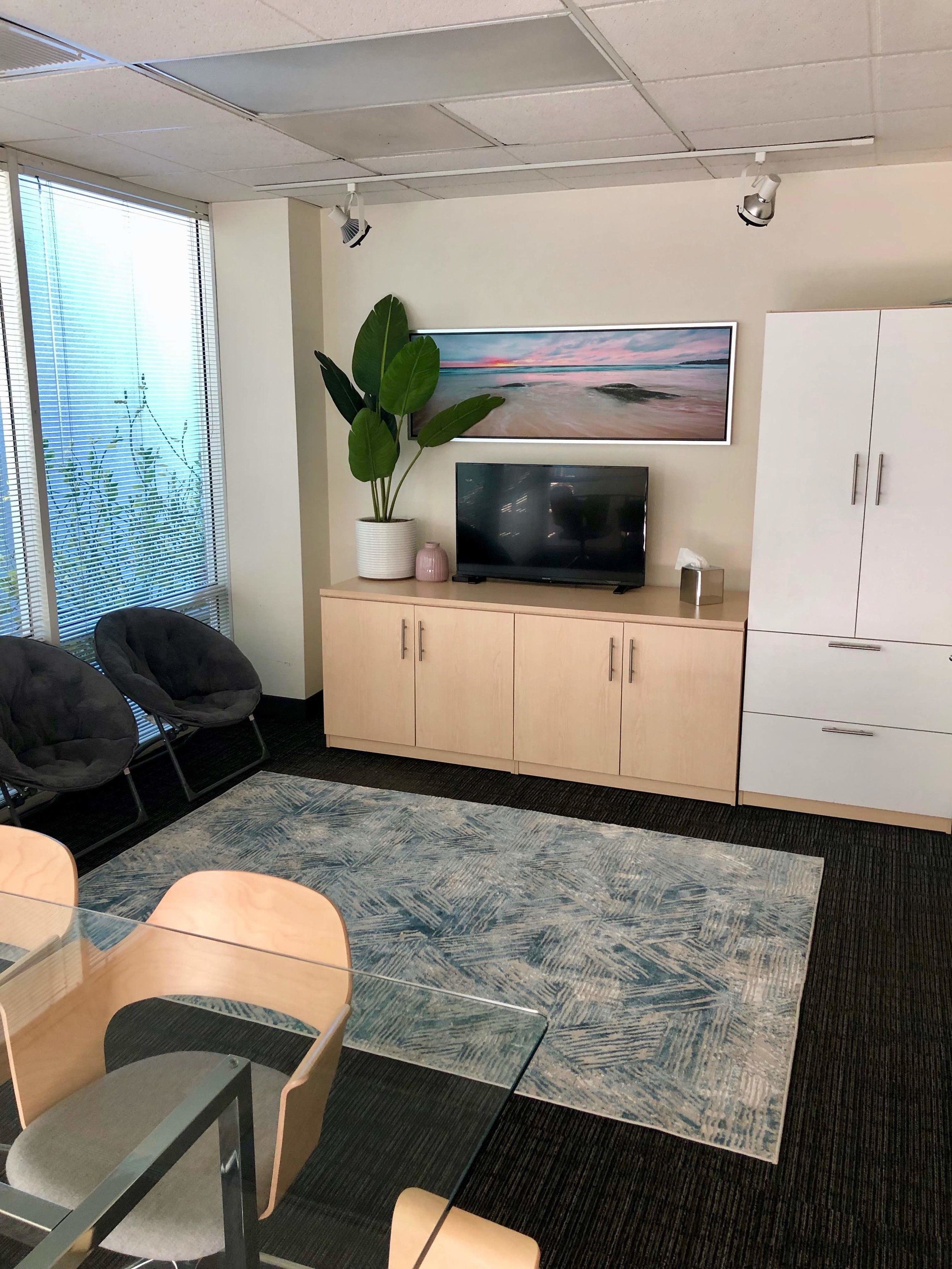 Family Therapy/Observation/Conference Room furnished with activities, toys, and Apple TV