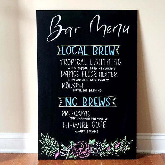 Hello Monday and hello to this sweet bar menu!! This heat is insane and the beer on this menu would sure cool us off!! Cheers to surviving the heat and making it to the cool temps coming up...I mean, 88 is way cooler than 93 (but feels like 103!!!) . . . . .  #whatsupwilmington #weddingsigns #chalkboardmenu #chalkboardlettering #chalkboardart #ncweddings #nccraftbeer #wilmingtonnc #creativewilmington