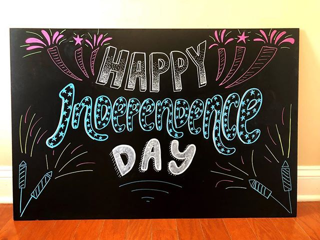 Happy 4th from us to you!!! We're soaking in the sun and enjoying this midweek break! . . . . . #chalkboardlettering #chalkboardsign #happy4th #enjoytheday #wilmingtonnc