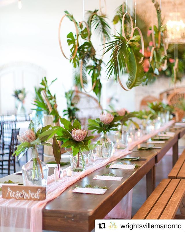 I spy with my little eye a Salt & Sea sign (before we were officially S&S!). Love how our little reserved signs tie in to the decor yet add a sweet touch! . . . #weddingsigns #wrightsvillemanor #woodsigns #wilmingtonnc #handletteredsign #tropicalwedding