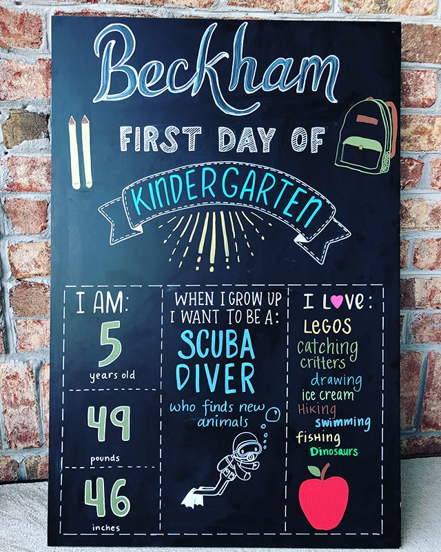 My sweet kiddo is off to school today. We were tardy, he cried, I almost vomited my morning shake...but the sign sure is cute!! Compensating for my inadequacies with large signs as well. 😆 . . . . #chalkboardart #chalkboardlettering #backtoschoolchalkboard #firstdayofschoolsign #handletteredsign #wilmingtonnc #backtoschool #firstdayofkindergarten