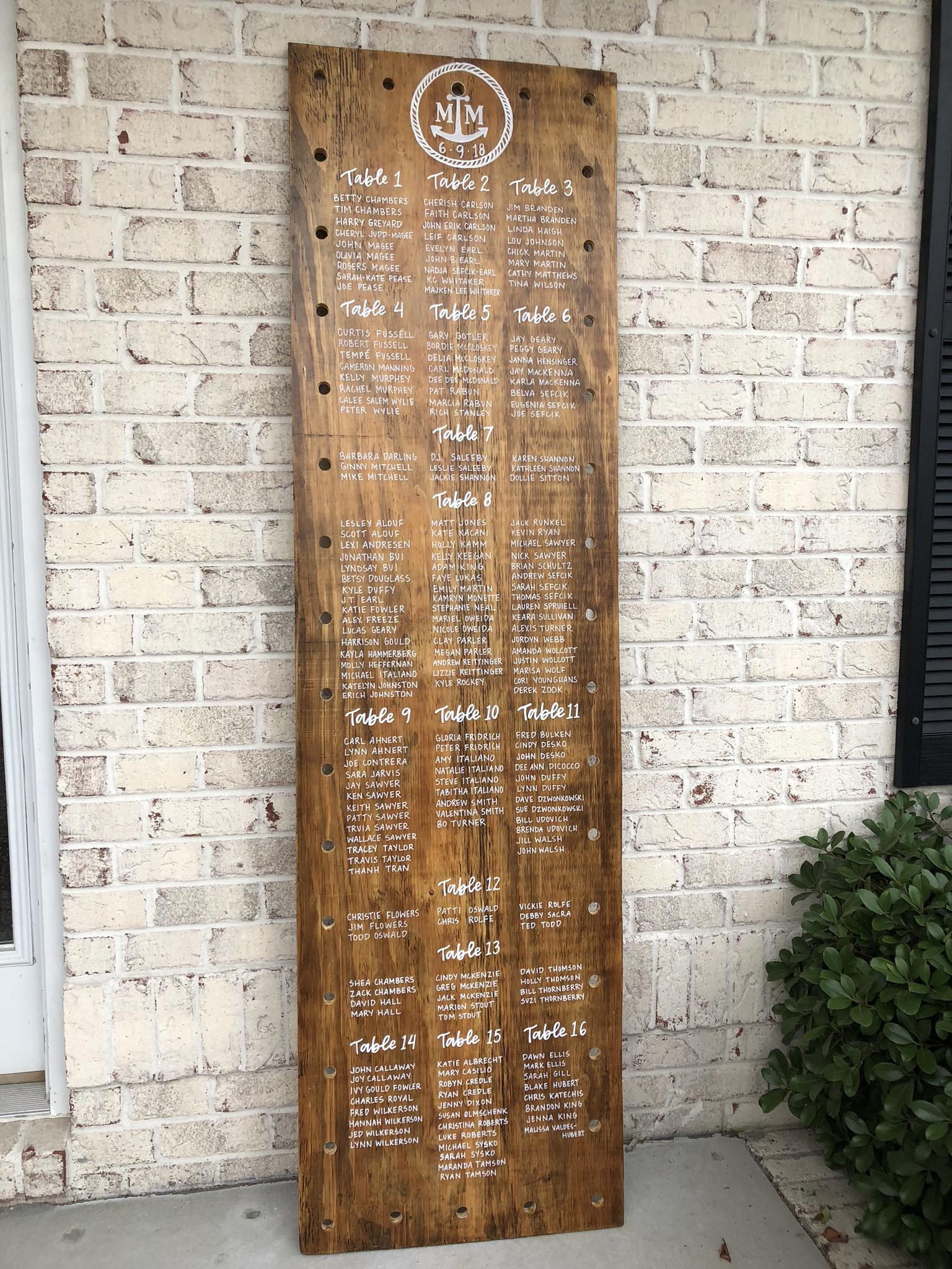 wood wedding seating chart