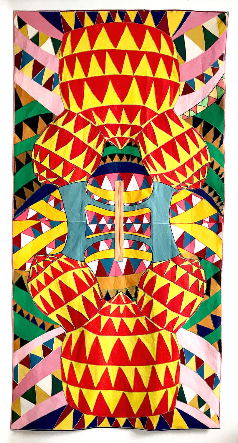 Poncho no 7, 2017    paint on canvas, sewing thread    104 1/2 x 52 1/2 in.