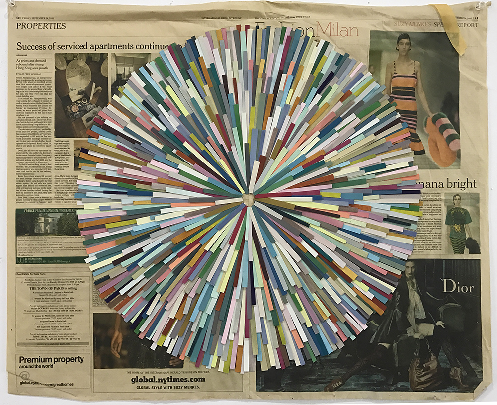Spout, 2010  gouache on paper, newspaper  58 x 69 cm