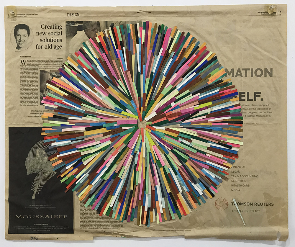 Burst, 2008  gouache on paper, newspaper  58 x 69 cm