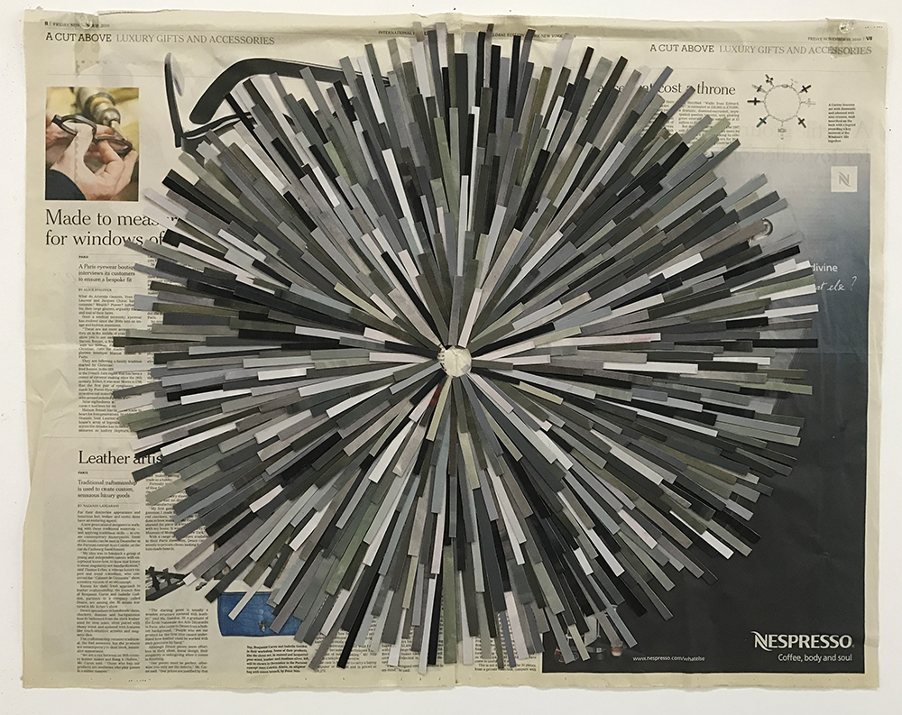 Blitz, 2010  gouache on paper, newspaper  58 x 69 cm
