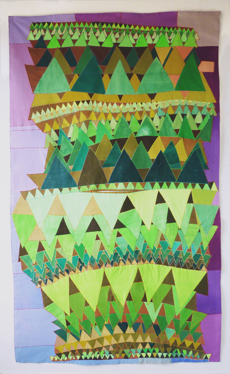 Poncho no 2, 2013    paint on canvas, sewing thread    93 x 55 1/2 in