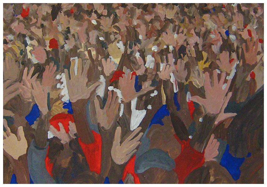 Hands, 2008  gouache on paper  7 x 10 in.