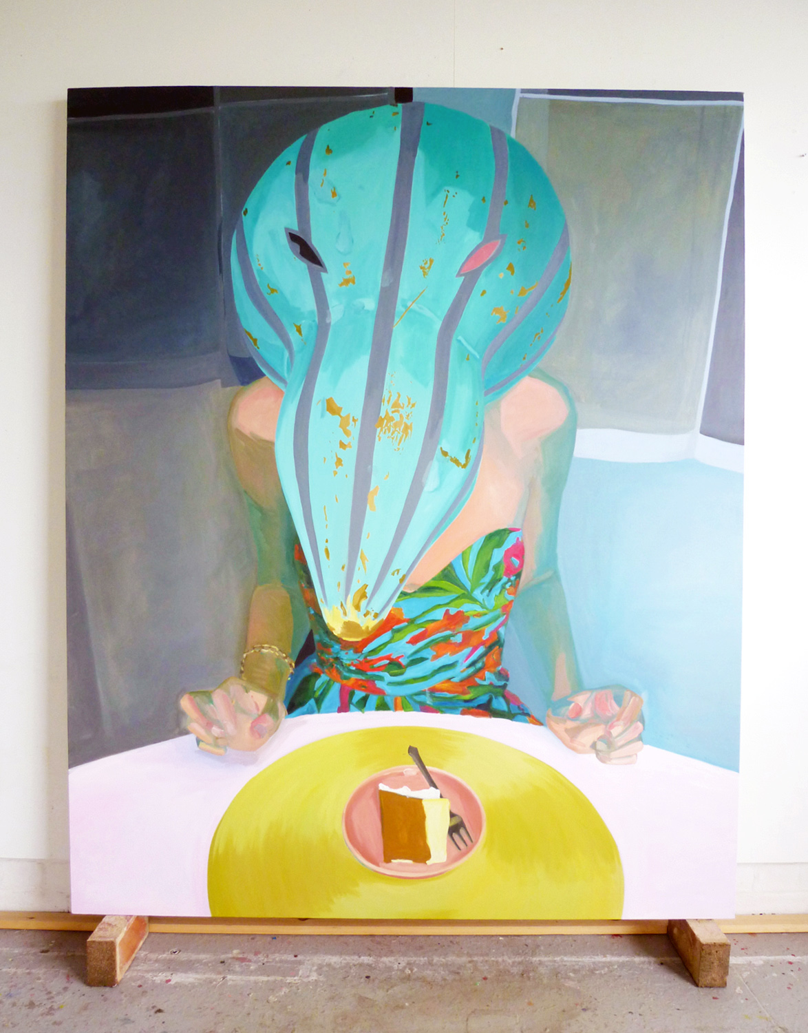 Dinner with patung (self-portrait), 2010  oil on canvas  185 x 150 cm