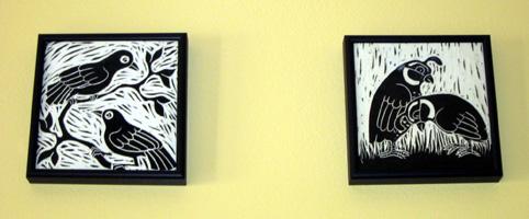 Framed tiles on wall