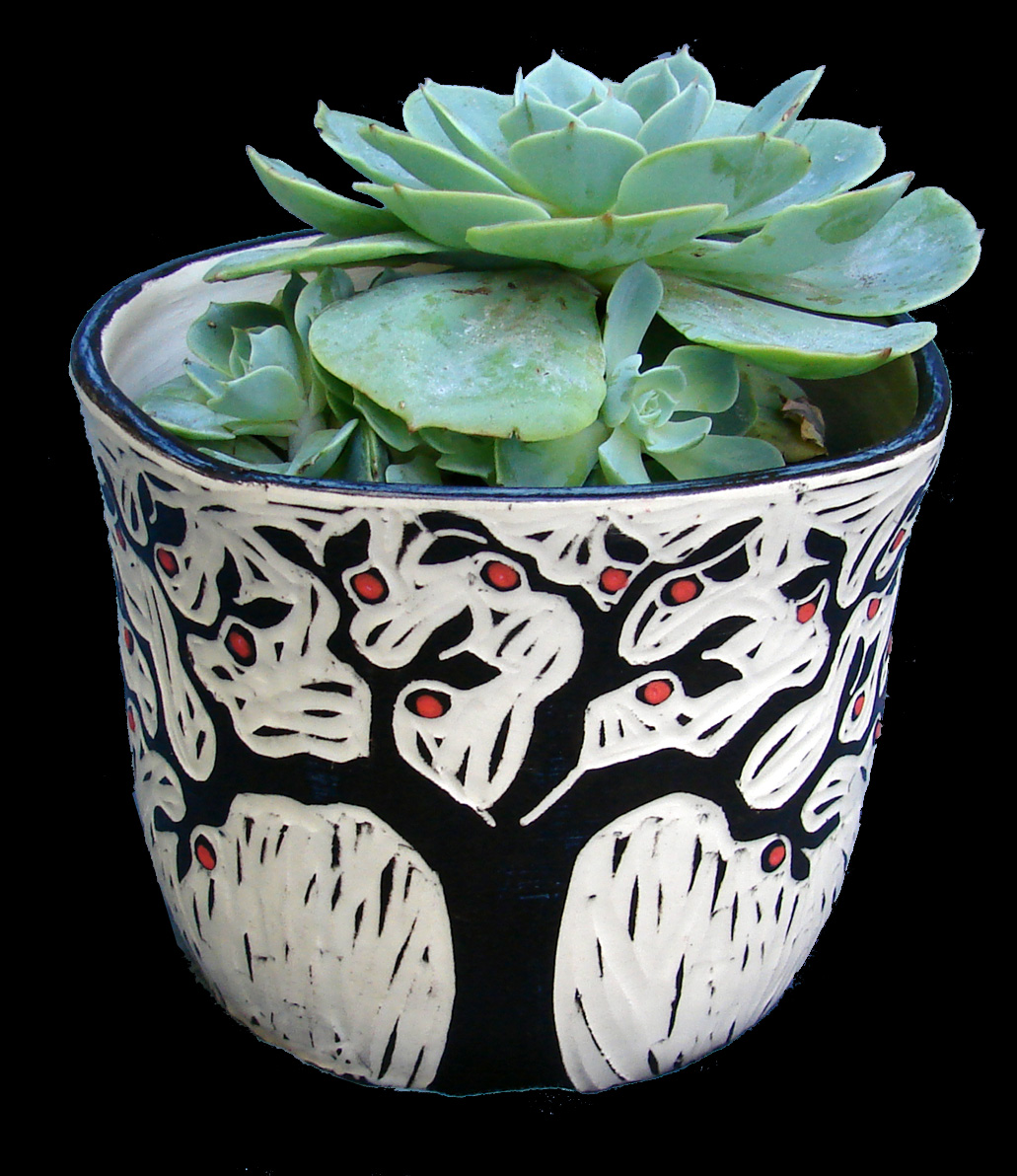 "Apple Tree Planter with 4"" Succulent"