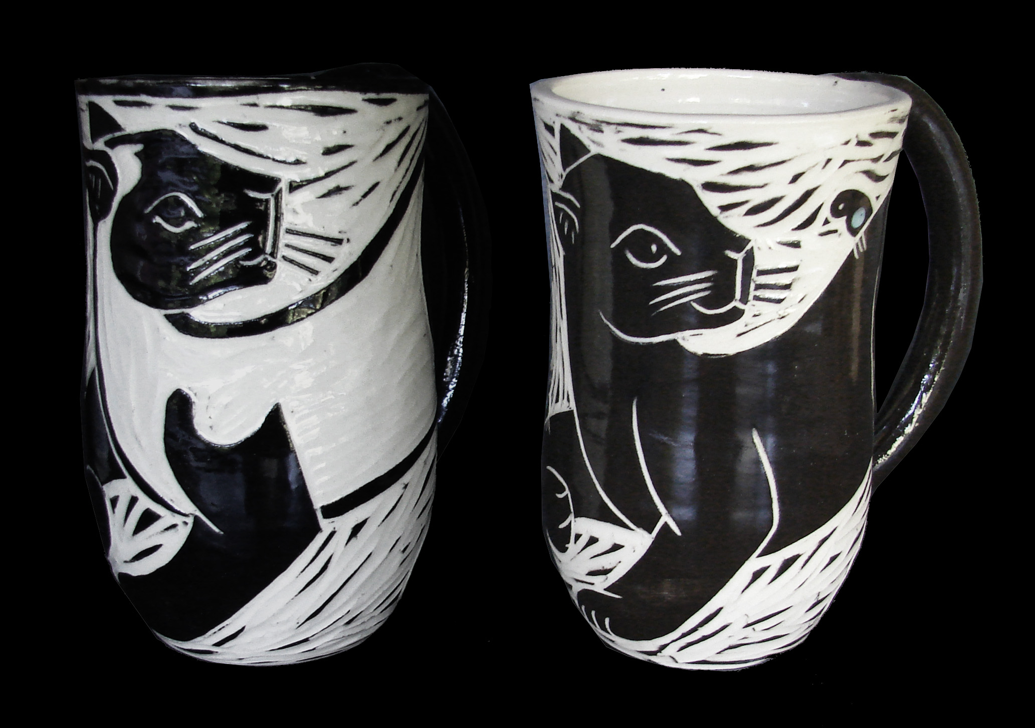 Woodcut Black & Siamese Cats