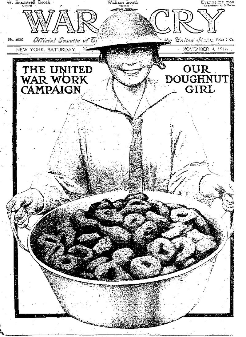 'Dollies' or 'Doughnut Girls' were women volunteers of the Salvation Army, who traveled to France in 1918 to support US soldiers.  Source: Wikipedia