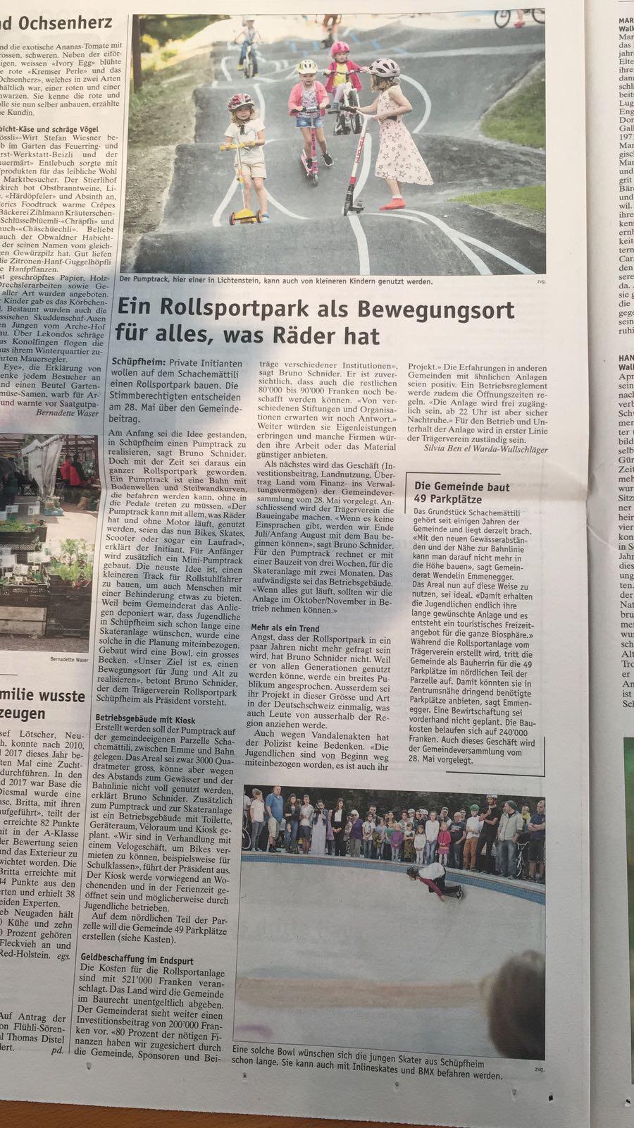 Bericht der Wochenzeitung über unser Projekt   Den kompletten Bericht können sie mit einem Klick auf das Bild nachlesen.