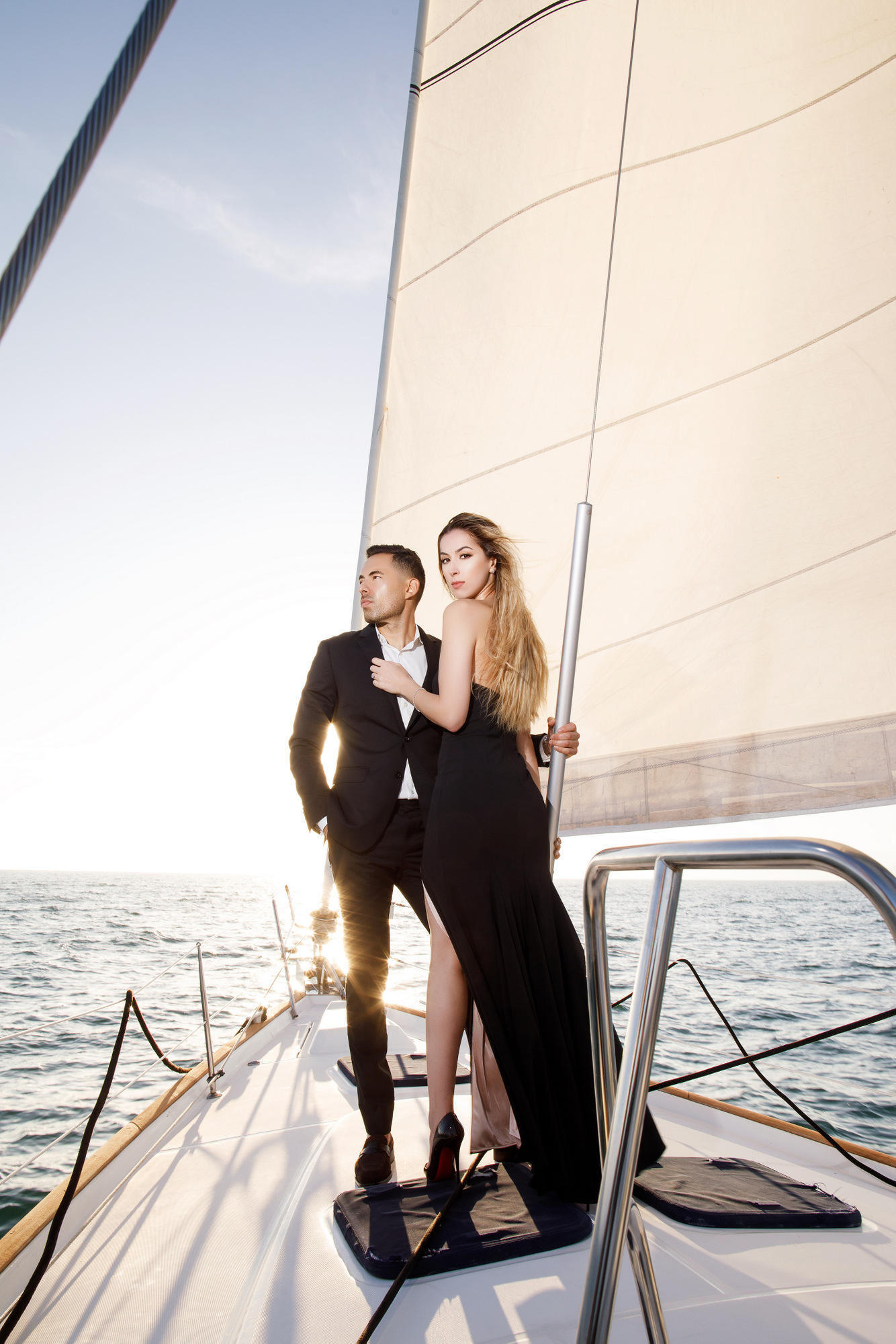 engagement session on boat in the coast in southern California marina del ray yacht photoshoot for wedding