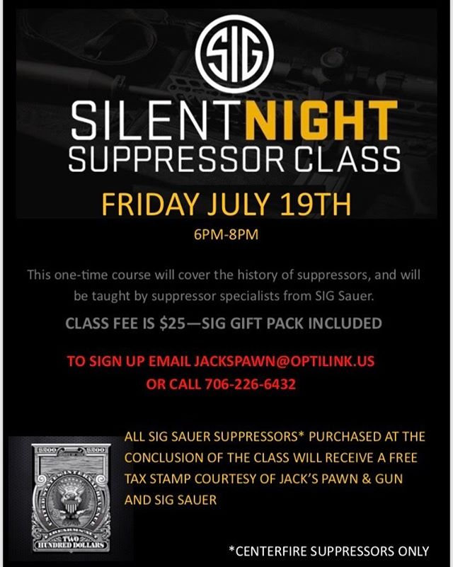 Don't miss this Great Opportunity to buy a Suppressor at Jacks!