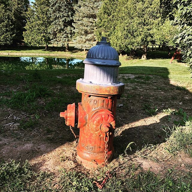 Finally did this restore thing. Would have been nice to have a sandblaster but I did the best I could with a drill and a wire wheel. It turned out pretty nice. . . .  #homelife #homeliving #restore #firehydrant #red #outdoors #ponds #pond #rustoleum #upgrade.