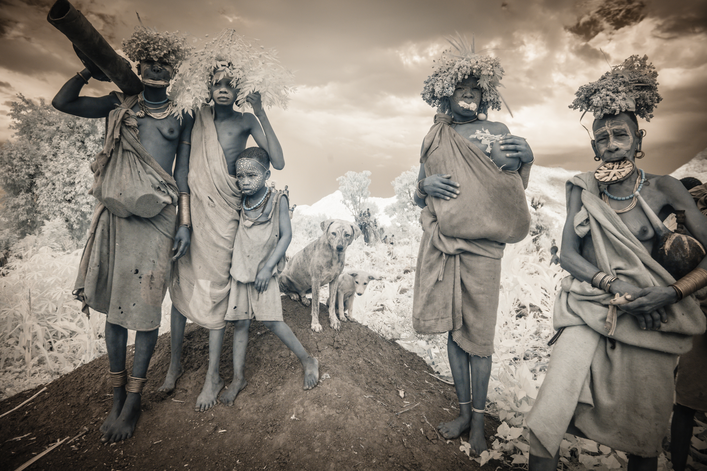 The clay lip plate worn by women of the Suri (pictured) and Mursi tribes symbolize a woman's strength and maturity.