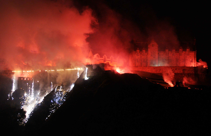 Edinburgh - they actually set the castle on fire for us!