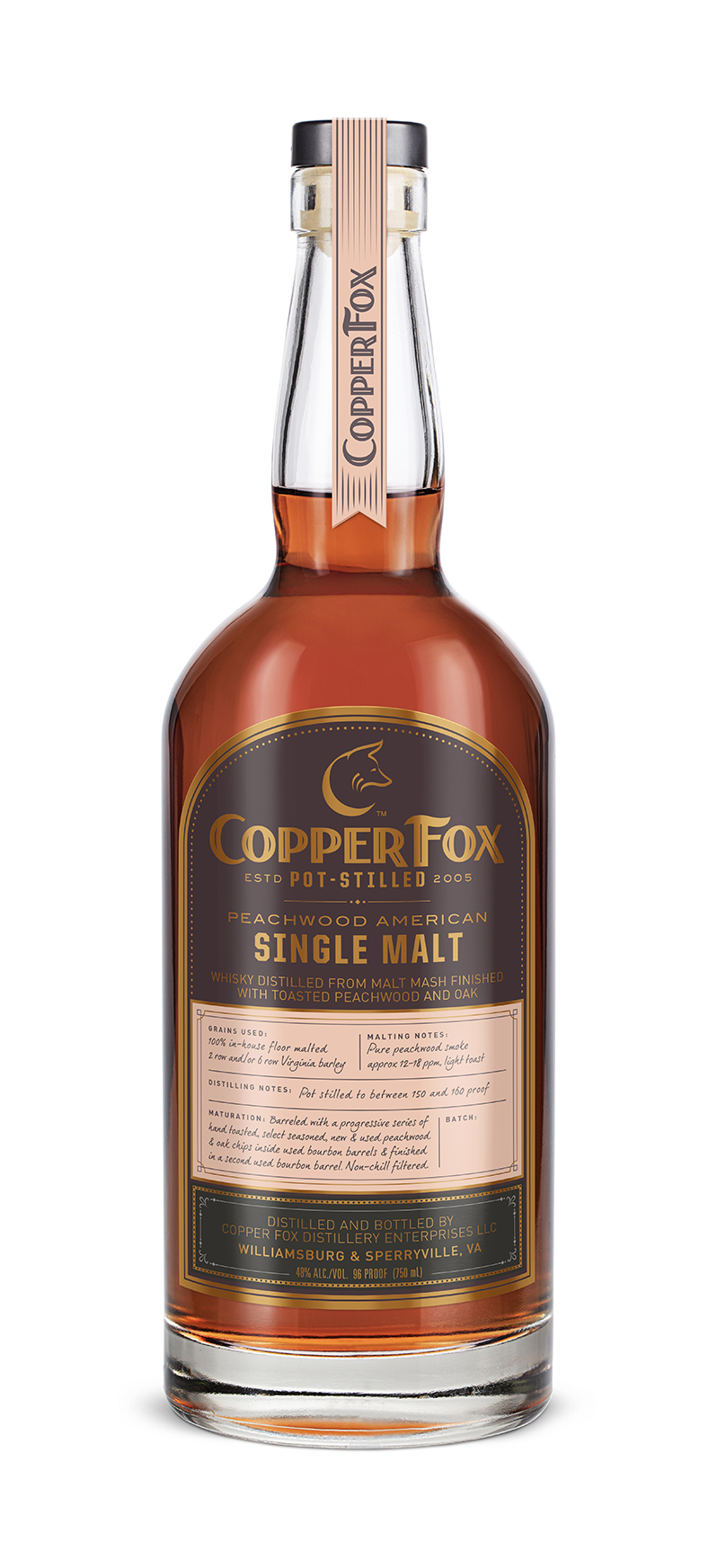 COPPER FOX PEACHWOOD AMERICAN SINGLE MALT - Our continuing quest to bring new flavors to the whisky world led us to the delicate complexities of peachwood. Both as a smoking medium during the kiln drying process and as a maturing catalyst inside our barrels, peachwood contributes a symphony of fruity, floral notes to our signature single malt.