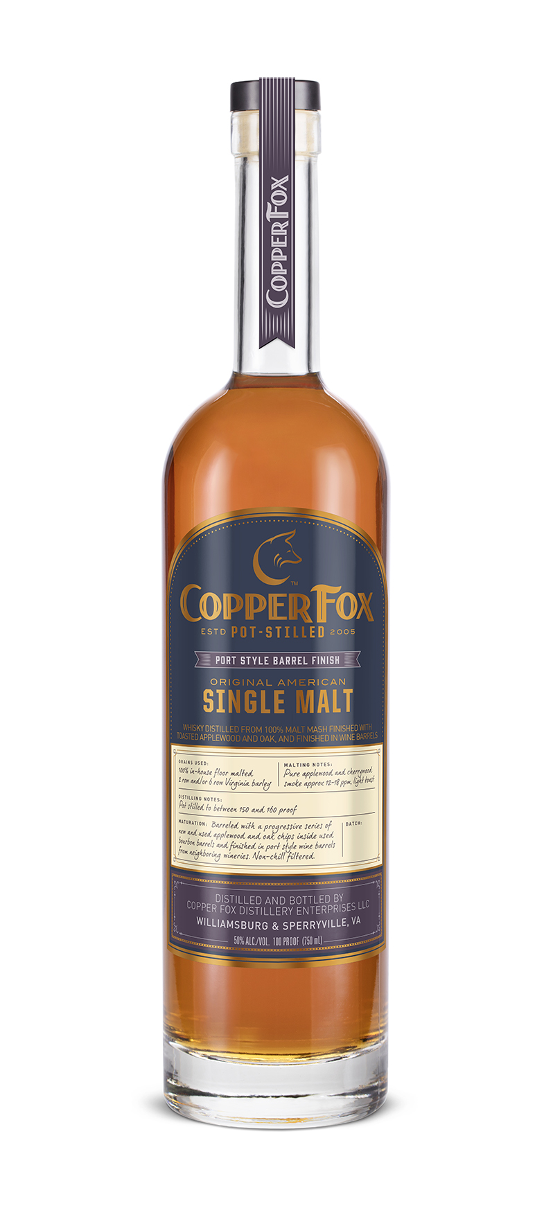COPPER FOX PORT STYLE BARREL FINISH SINGLE MALT - Our signature single malt, aged with a progressive series of hand toasted, select seasoned, new and used applewood and oak chips inside used bourbon barrels, transferred to a second used bourbon and then finished in used port style wine barrels from neighboring Virginia wineries. This process results in a deep rich flavor and subtle sweetness, attributed to the residual wine in the wood.TASTING NOTESColor: A dark auburn-huedNose: Beautifully perfumed nose of raisin, brandied cherry, cinnamon sugar, and aged leather.Palate: Rich and honeyed with notes of milk chocolate covered cherries, ginger root, toasted coconut, and cigar box.Finish: A savory, biscuit-like quality develops on the generous finish, leaving an impeccably balanced dessert lingering on the tongue.Non-chill filtered. 50% ABV/100 ProofA single malt whisky to study over and savor.‹ PreviousBack to GalleryNext ›