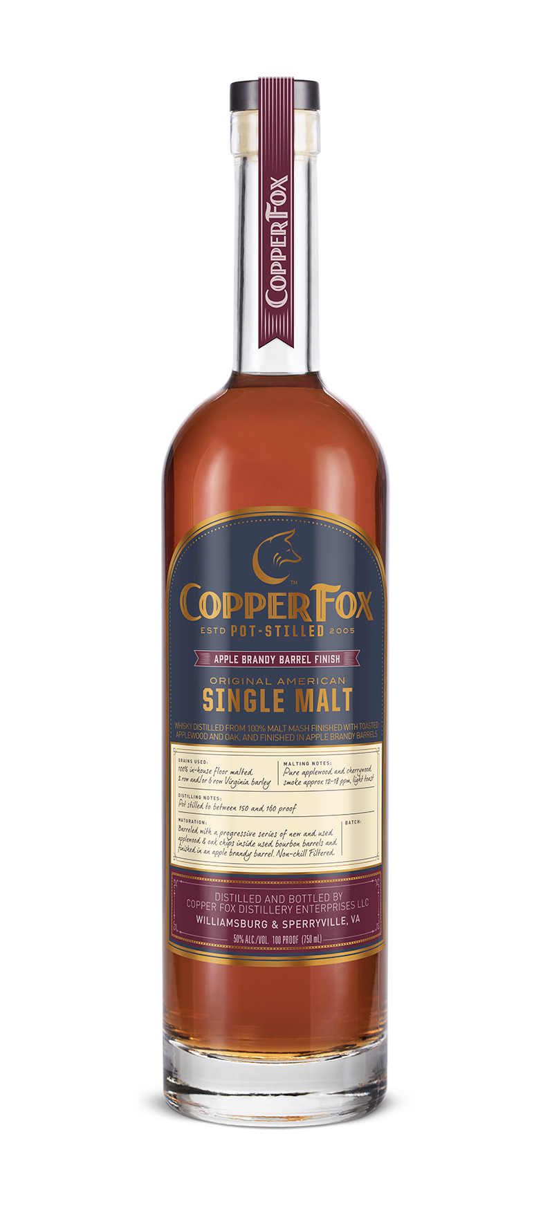 COPPER FOX APPLE BRANDY BARREL FINISH SINGLE MALT - Our signature single malt, aged with a progressive series of hand toasted, select seasoned, new and used applewood and oak chips inside used bourbon barrels, transferred to a second used bourbon barrel and then finished in used Apple Brandy barrels. This stunning whisky acquires additional depth and multiple layers of flavor attributed to the residual brandy spirits in the wood.TASTING NOTESColor: Rose goldNose: Fragrant nose of ripe orchard fruit, candied ginger, fresh sawdust, and damp soil.Palate: Silky body reveals a palate composed of toasted cinnamon stick, sandalwood, dried apples, lemon zest, and barley sugar.Finish: Faint white pepper note accompanies a subtle heat that smolders into a sweet and savory finish of apple marmalade on freshly toasted bread.Non-chill filtered. 50% ABV/100 ProofAn intriguing whisky, layered and reflecting its careful design.‹ PreviousBack to GalleryNext ›