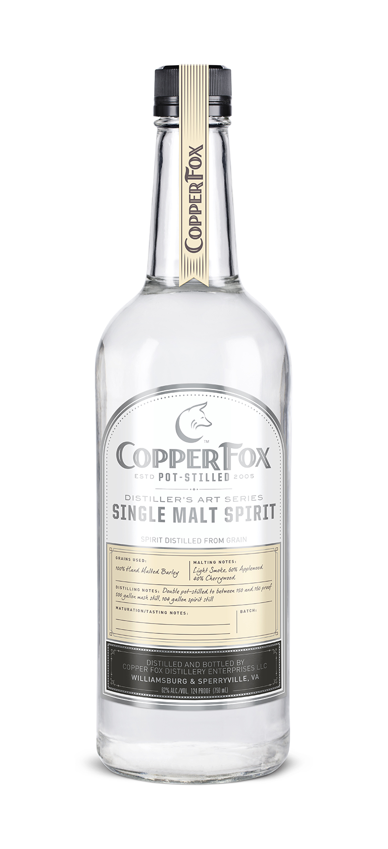 "COPPER FOX SINGLE MALT SPIRIT - The first born in our ""Distiller's Art Series"" this clear spirit is our Gold Medal award winning Copper Fox Single Malt Whisky, bottled at barrel strength prior to aging. Our spirit is hand crafted from 100% Thoroughbred barley developed and grown locally, exclusively for Copper Fox Distillery.Unlike neutral grain spirits, which are distilled at 190 proof and above, our spirits are hand crafted and carefully distilled at just under 160 proof, utilizing a process which allows the complete essence and flavor of the barley grain to come throughEnjoy this Single Malt Spirit as a foundation for creating marvelous cocktails; substituting it for many other spirits in your favorite recipes. In addition, we invite you to replicate the aging process at home in our new lightly charred American white oak barrels. The cask strength (124 proof) spirit is the best strength to optimize the reaction of spirit and wood.The first bite of a crisp, ripe apple with a hint of toasted almond. Silky finish somewhere between subtle vanilla and licorice fade. A tantalizing bouquet and surprisingly full flavored.‹ PreviousBack to GalleryNext ›"