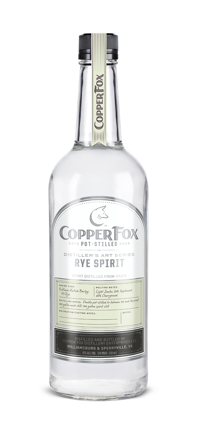 "COPPER FOX RYE SPIRIT - The second release in our innovative ""Distiller's Art Series,"" this clear spirit is our Gold Medal award winning Copper Fox Rye Whisky, bottled at barrel strength prior to aging. Our spirit is hand crafted from 2/3 Virginia rye and 1/3 Thoroughbred barley developed and grown locally, exclusively for Copper Fox Distillery.Unlike neutral grain spirits, which are distilled at 190 proof and above, our spirits are hand crafted and carefully distilled at just under 160 proof, utilizing a process which allows the complete essence and flavor of the barley grain to come through.Enjoy this Rye Spirit as a foundation for creating marvelous cocktails; substituting it for many other spirits in your favorite recipes. In addition, we invite you to replicate the aging process at home in our new lightly charred American white oak barrels. The cask strength (124 proof) spirit is the best strength to optimize the reaction of spirit and wood.Subtle toasted almond and ripe apple of the malt, with a gin-like floral sensation and the soft saltiness of a Rappahannock river oyster. End notes of pepper and spice with a surprisingly sweet finish.‹ PreviousBack to GalleryNext ›"