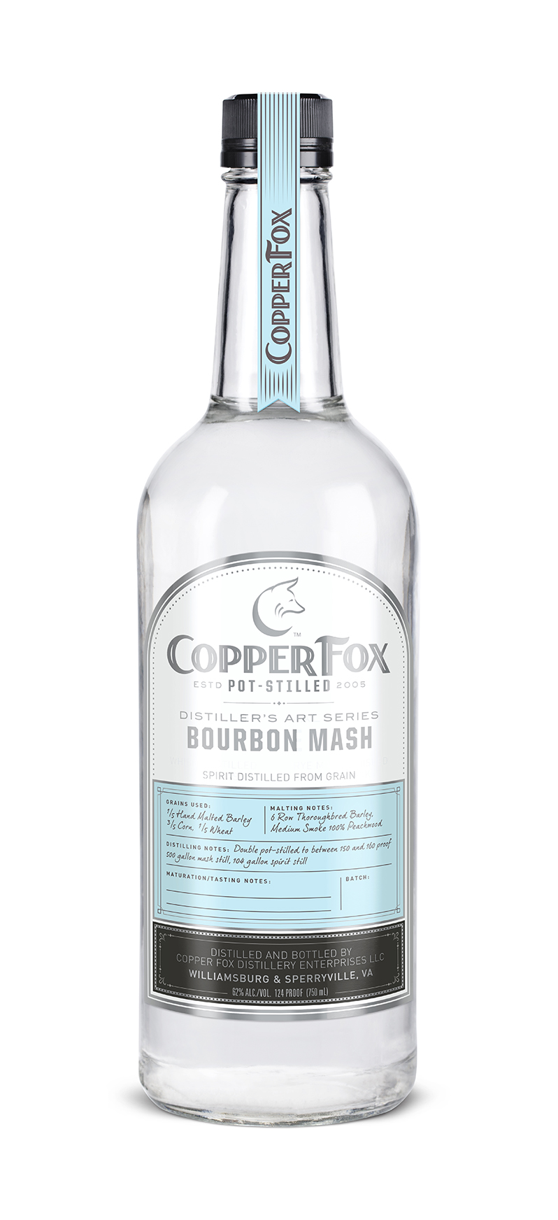 "COPPER FOX BOURBON MASH - The third in our innovative ""Distiller's Art Series,"" this clear spirit is is bottled at barrel strength prior to aging and is hand crafted from 60% Virginia corn, 20% Virginia wheat and 20% Virginia barley, and the 20% barley in the mash bill is uniquely smoked with peachwood.Unlike neutral grain spirits, which are distilled at 190 proof and above, our spirits are hand crafted and carefully distilled at just under 160 proof, utilizing a process which allows the complete essence and flavor of the barley grain to come through.Enjoy this Bourbon Mash as a foundation for creating marvelous cocktails; substituting it for many other spirits in your favorite recipes. In addition, we invite you to replicate the aging process at home in our new lightly charred American white oak barrels. The cask strength (124 proof) spirit is the best strength to optimize the reaction of spirit and wood.Delicate peach-wood smoke gives way to a buttered corn nose. Hints of pepper and cinnamon set up tongue for a silky sweet finish. Floral body leaves your mouth salivating for more.‹ PreviousBack to GalleryNext ›"