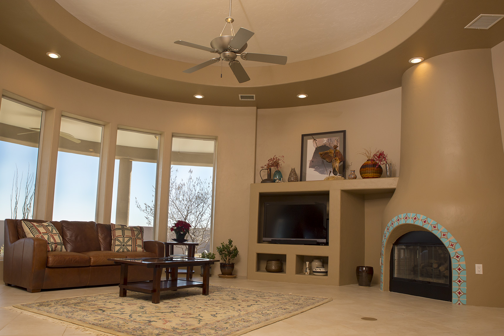Multiple exposure, wide angle lens, great lighting, real estate, living room, fireplace, Las Cruces, NM