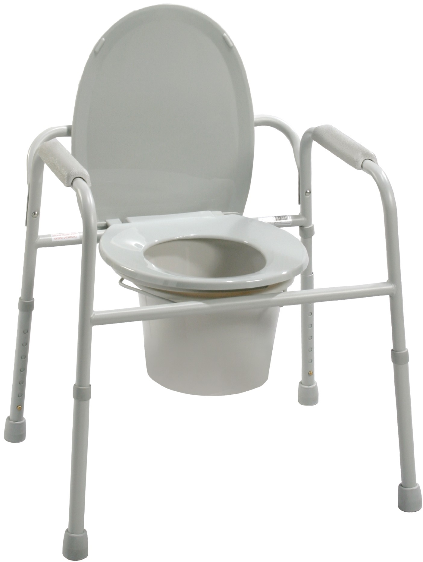 Drive deluxe all-in-one steel commode with armrests