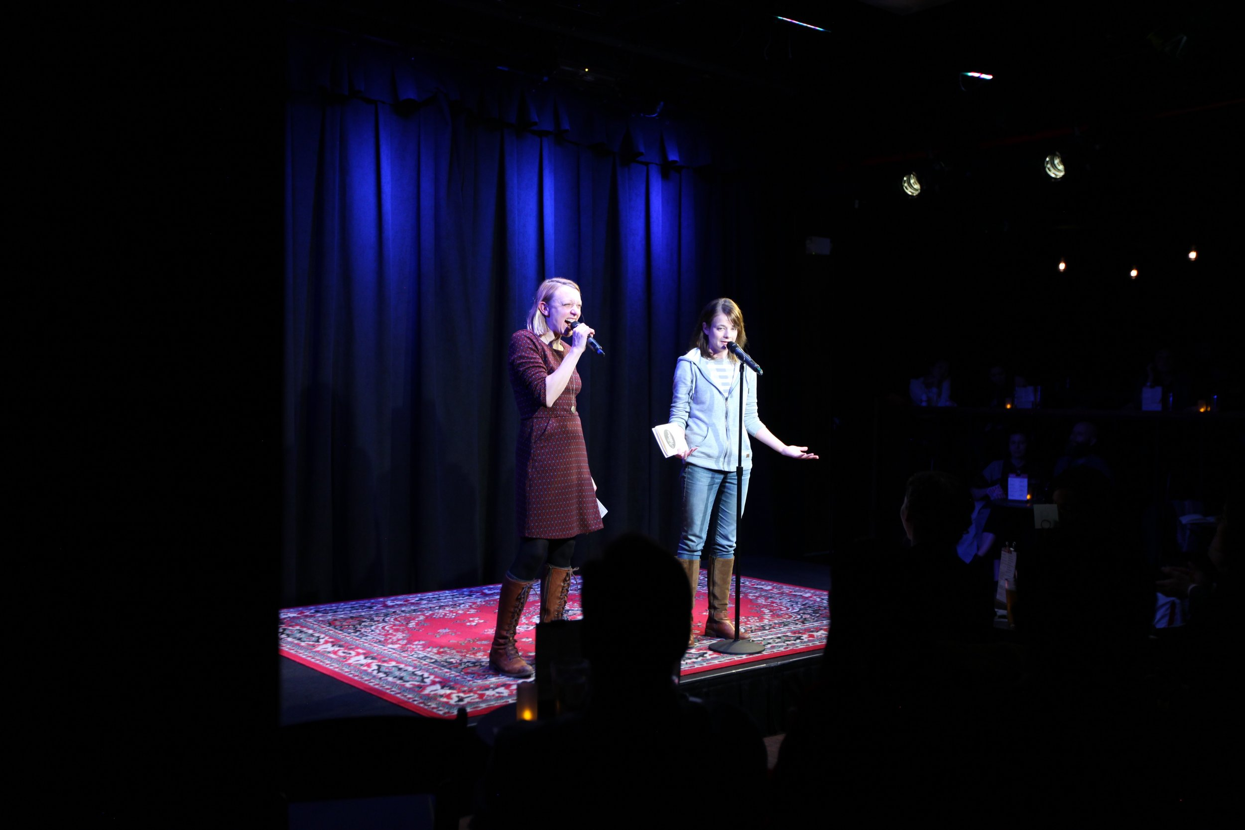 Paula Croxson (left) and Erin Barker (right) host the Story Collider show