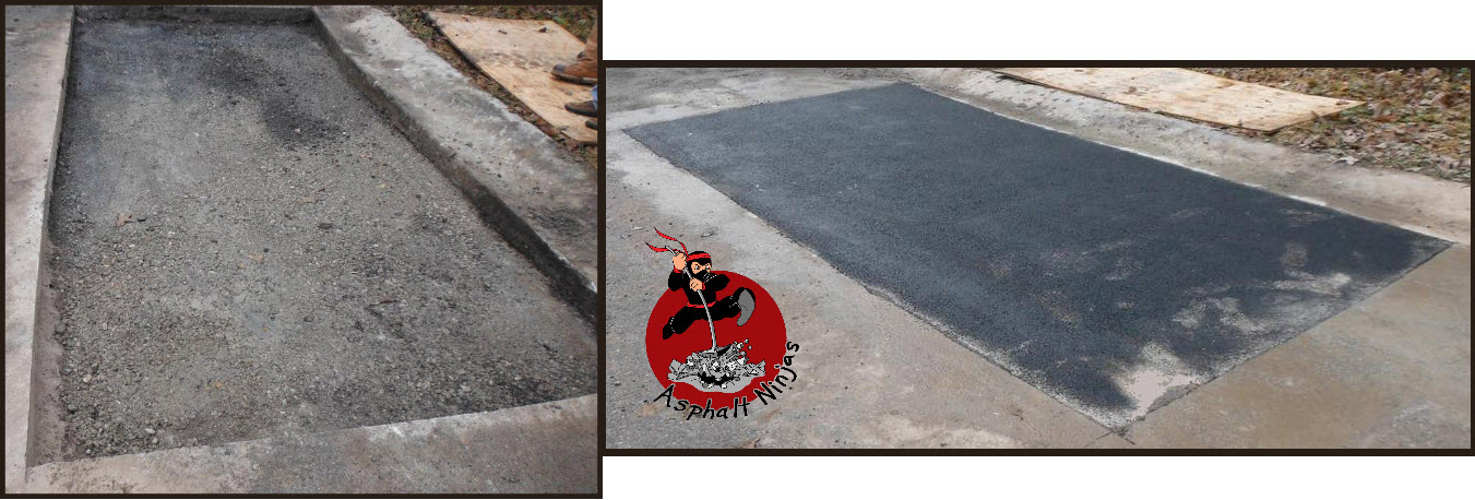 Left: An excavated patch after the asphalt was saw cut and removed.    Right: The finished patch.