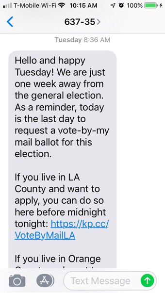A recent text from the Human Voter Guide