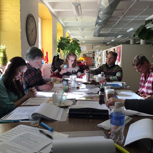 The first table read of  Scapino!  Callie Rose Hanau, JR Robinson, Claire Kennedy, Aaron Vega, Steve Asciolla