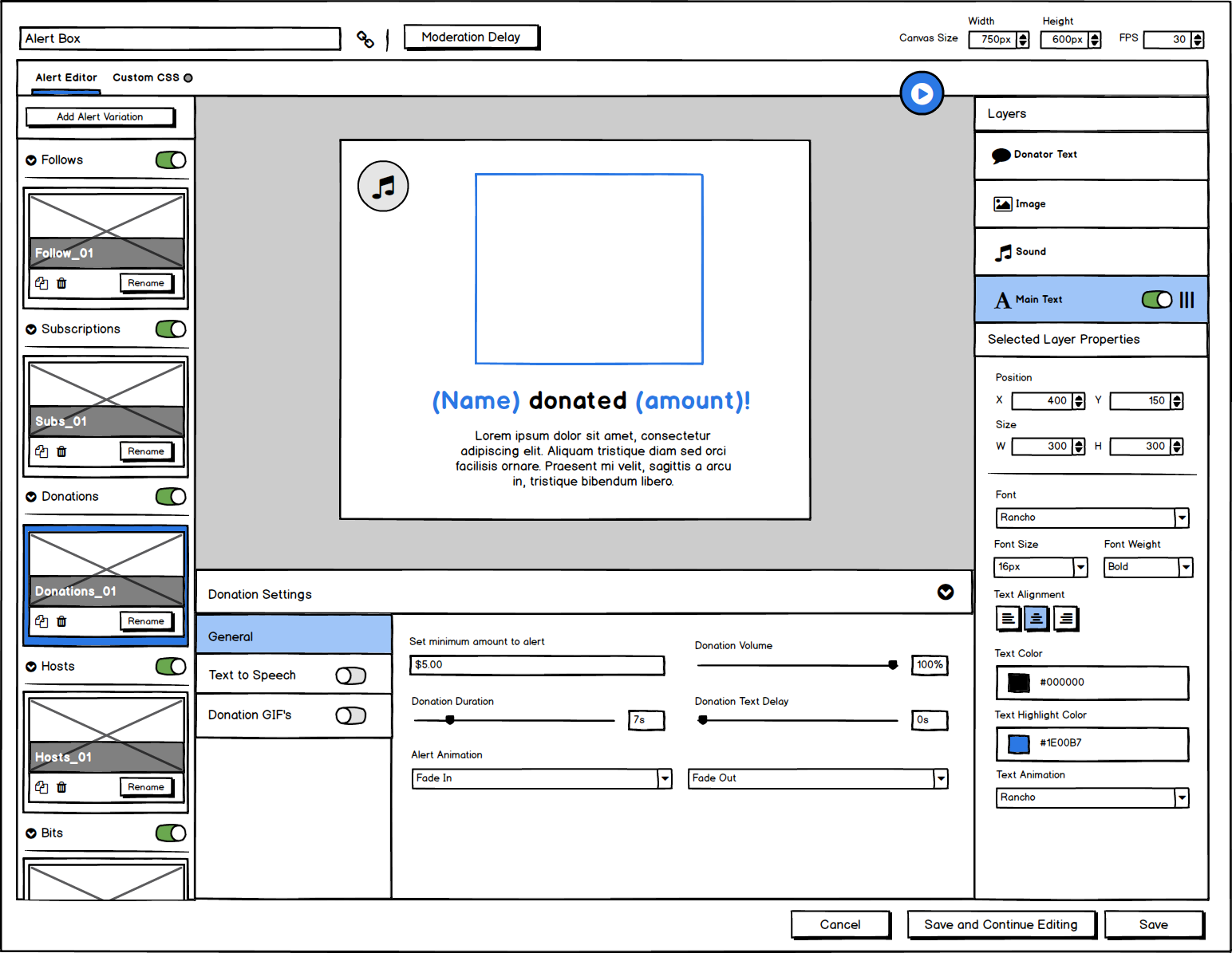 Global Settings Wireframe Concept