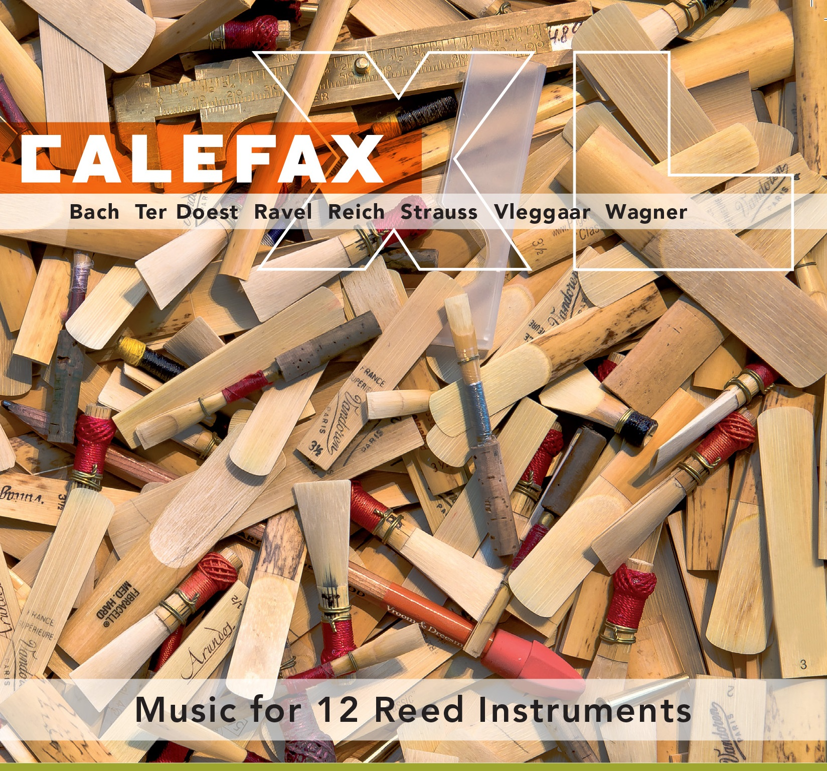 CalefaXL (2011) on RIOJA - Music by Bach, Ter Doest, Ravel, Reich, Strauss, Vleggar and Wagner arranged for 12 Reed Instruments.