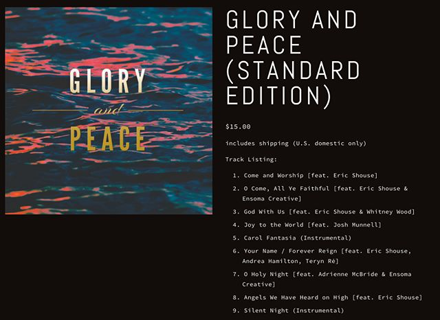 """Still need to do last-min shopping for presents and white elephant parties? iTunes link is in bio, but for those who want a tangible album item…look no further! Physical copies available for purchase on my website www.mosessunmusic.com and click """"Christmas Album — GLORY AND PEACE"""" to order your copy. . #GloryandPeace #Christmas #Christmasalbum #Christmasmusic #carol #covers #original #composition #orchestration #rock #band #choir #musicians #Christmasshopping #physicalCDs"""