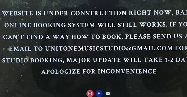 Our website is under construction right now, major update will take 1-2 days, for band bookings please send us an email unitonemusicstudio@gmail.com Apologize for inconvenience  Siga.