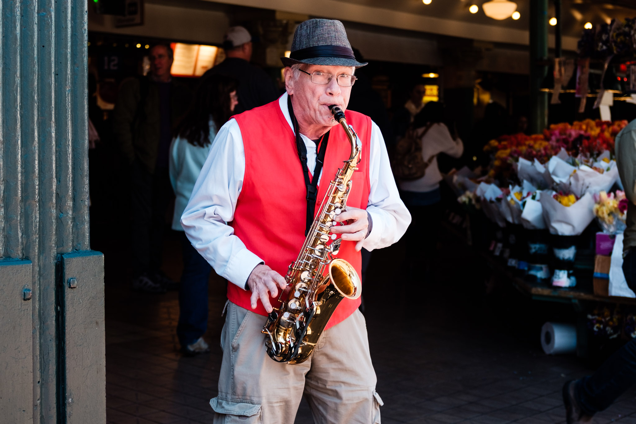 Brother Billy plays the sax at Pike Place Market. Seattle, WA. April 2017. (Photo by Danny Ngan.)