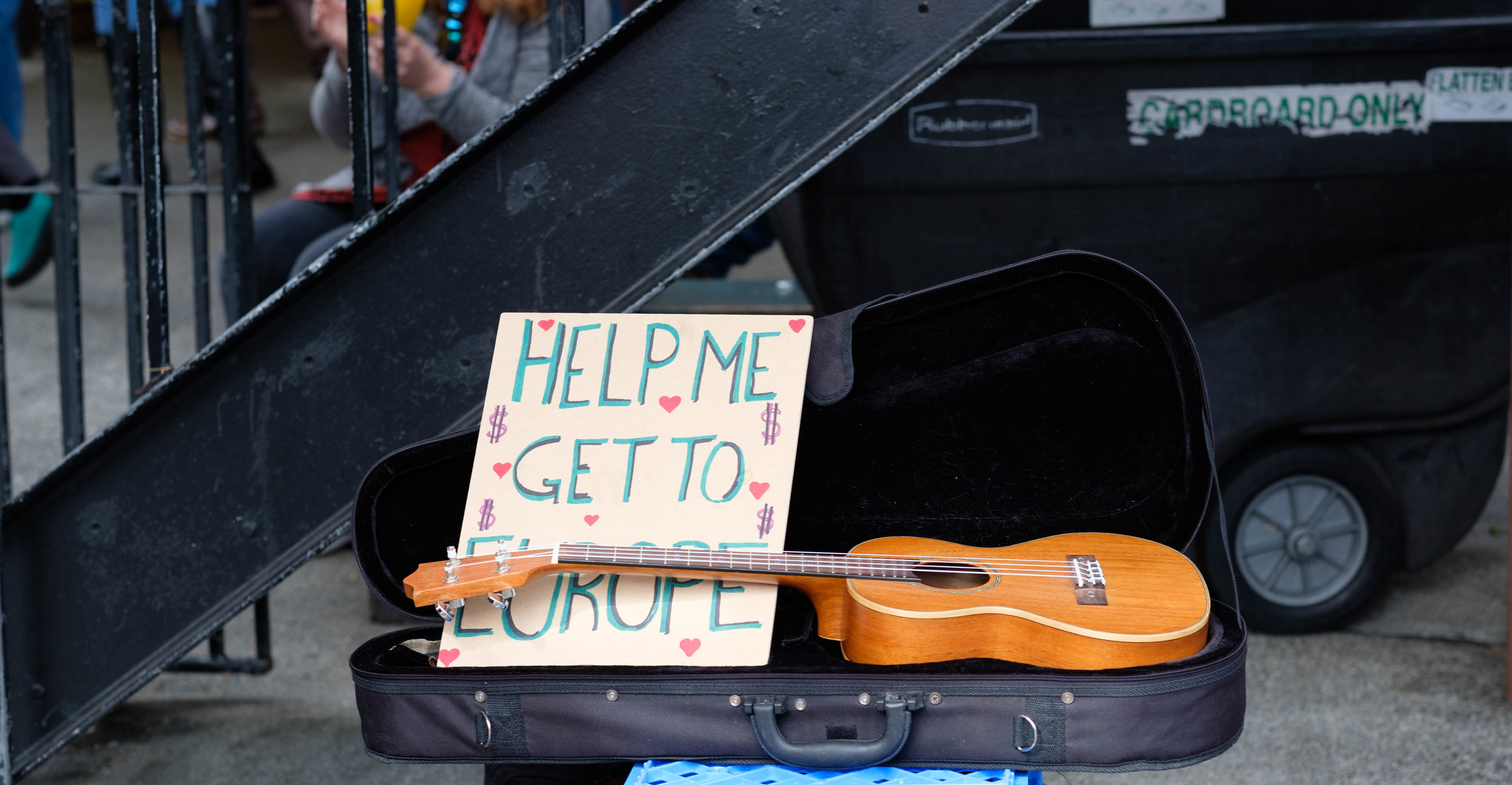 Busking at Pike Place Market, Seattle.