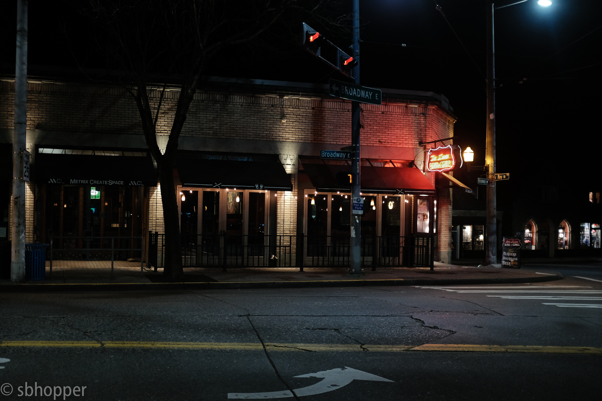 DeLuxe Bar and Grill, Capitol Hill, Seattle, March 2018. Auto Transform (leveling) in Lightroom.
